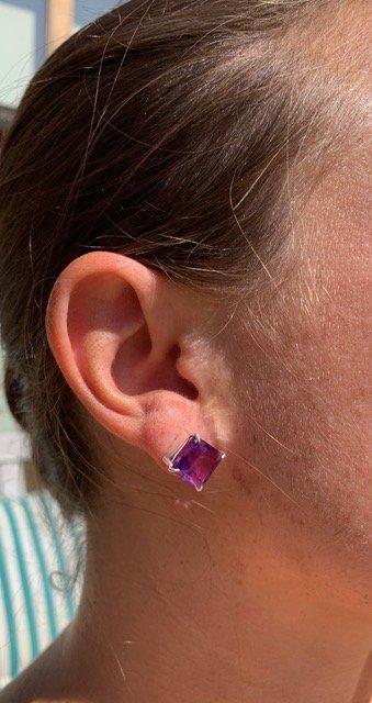 Codea Post Earrings, Amethyst, Nicky Blystad Jewellery