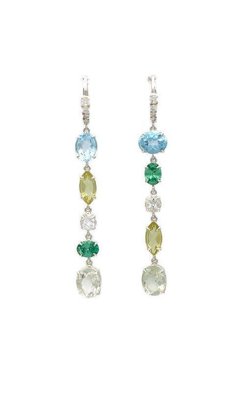Odite Hook Earrings – Blue Topaz, Lemon Quartz, Cubic Zirconia, Green Amethyst, Nicky Blystad