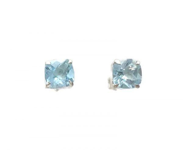 Ciana Post Earrings, Cushion Set Blue Topaz, Nicky Blystad Jewellery