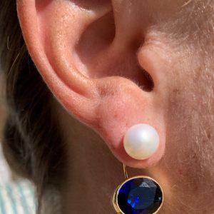 Nicky Blystad, Sirona Earrings, Pearl and Sapphire Blue