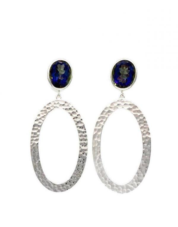 Odona Post Earrings, Blue Mystic Topaz, Nicky Blystad Jewellery