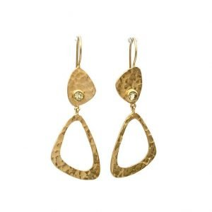Tidona Hook Earrings, White Topaz, Gold Plated Silver, Nicky Blystad Jewellery