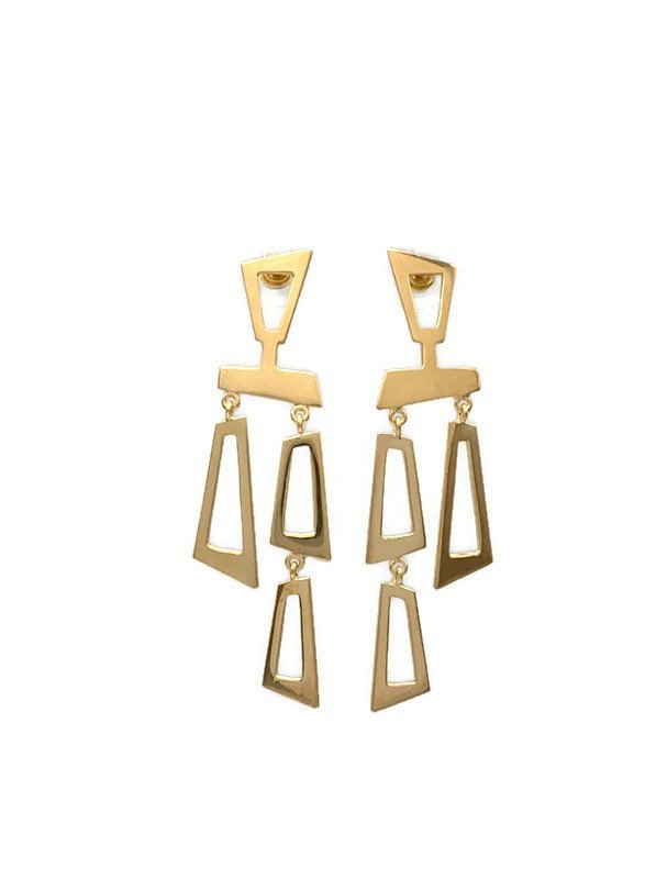 Curis Post Earrings , Gold Plated Sterling Silver, Nicky Blystad Jewellery