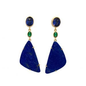 Lapis Lazuli Post Drop Tulena Earrings set in Gold Plated Sterling Silver